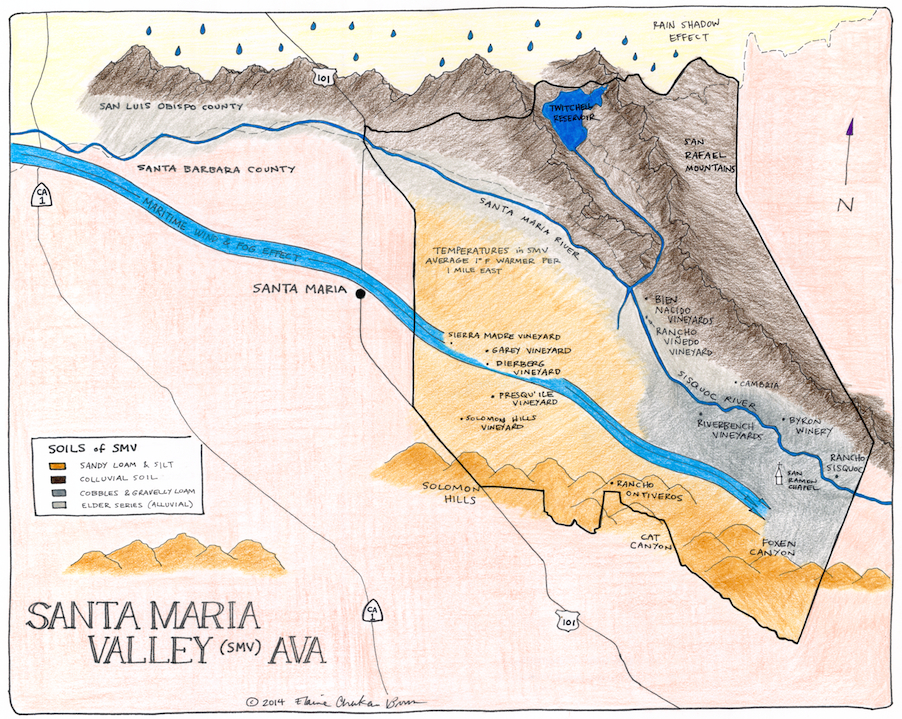 Winegrowing Santa Maria Valley (+ a hand drawn map)