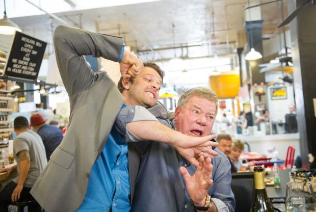 Misha Collins beats up the innocent William Shatner